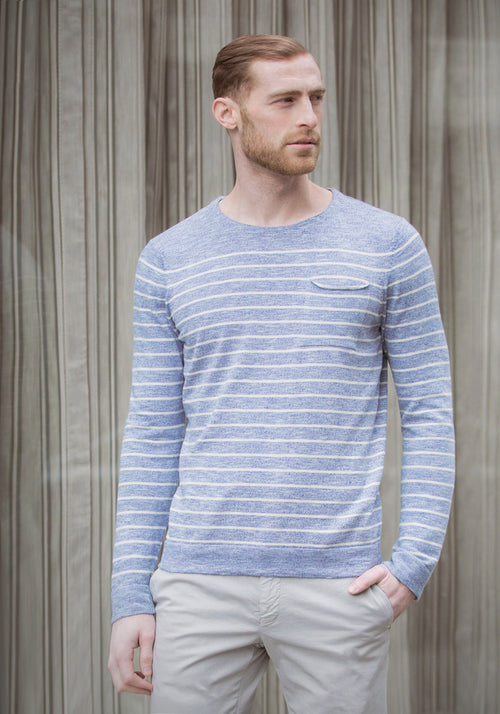 Long Sleeve Striped Cotton Pullover