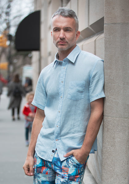 Pure Linen Short Sleeve Sport Shirt