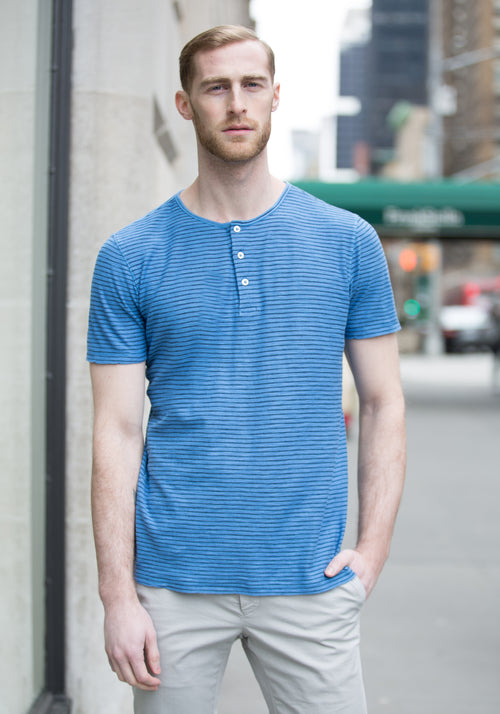 Benson Short Sleeve Striped Henley - Frank Stella Clothiers
