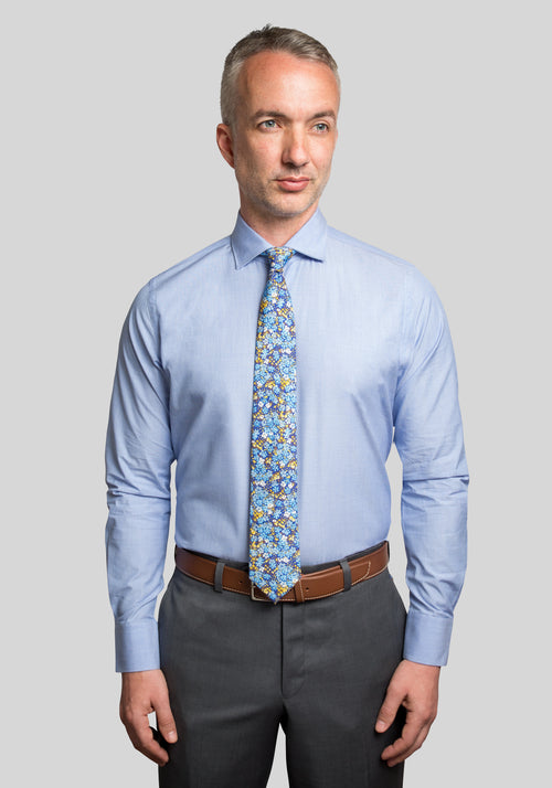 Frank Stella Blue End on End Slim Fit Dress Shirt - Frank Stella Clothiers