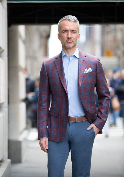 Frank Stella Berry & Blue Windowpane Loro Piana Sport Coat - Frank Stella Clothiers