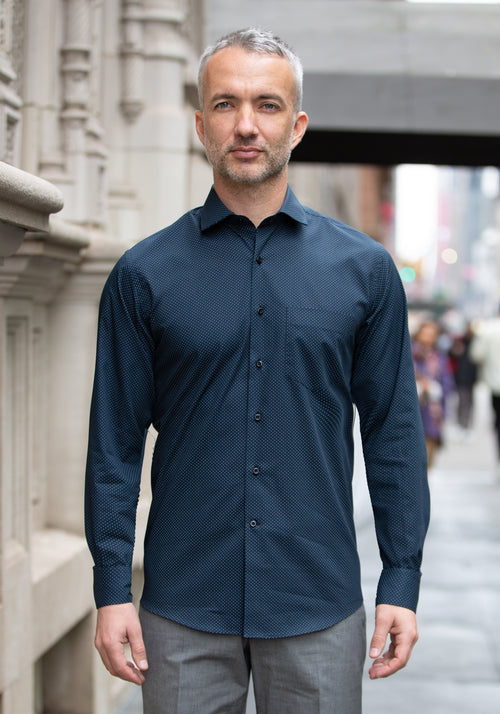 Navy Pattern Sport Shirt