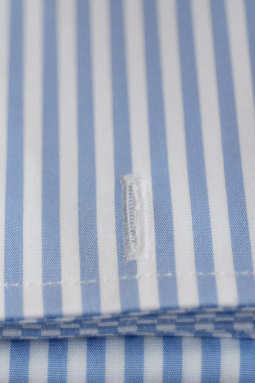 Frank Stella Blue/White Bengal Stripe French Cuff Dress Shirt - Frank Stella Clothiers