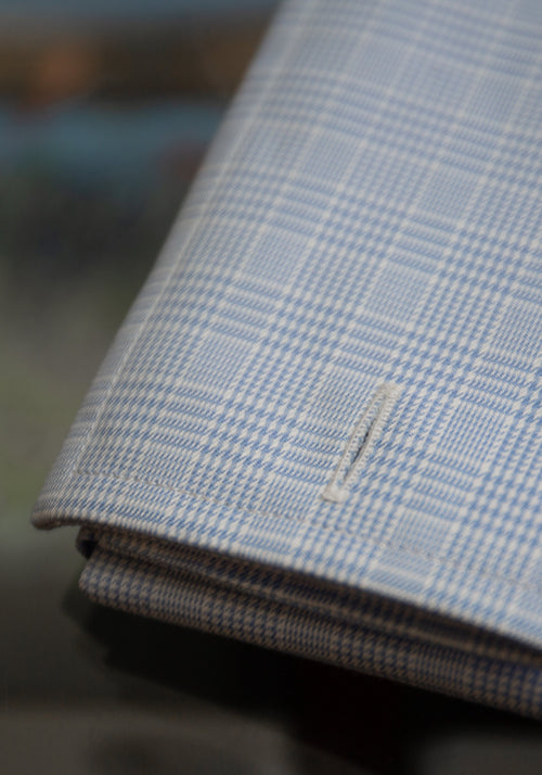 Frank Stella Blue Plaid French Cuff Dress Shirt - Frank Stella Clothiers