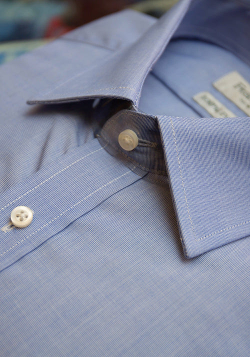 Blue End on End French Cuff Dress Shirt