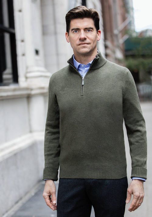 Gran Sasso Lambswool & Cashmere 1/4 Zip Sweater - Frank Stella Clothiers