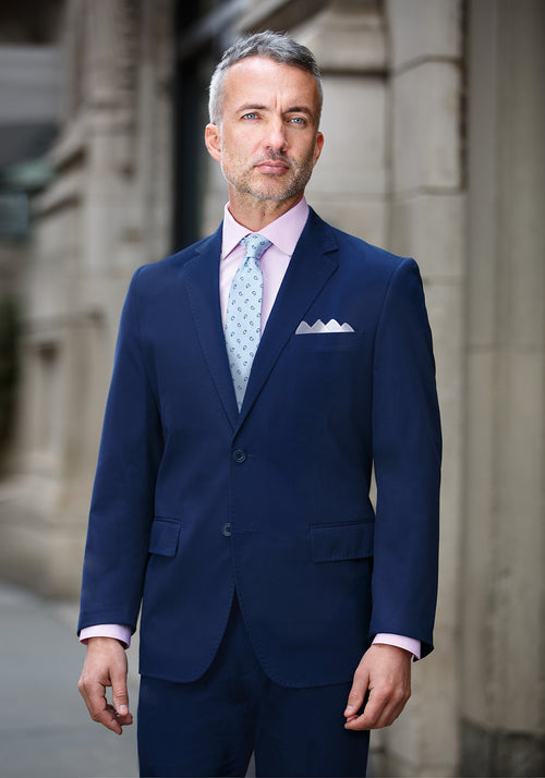 Frank Stella Tailored Fit Pure Cotton Navy Suit - Frank Stella Clothiers