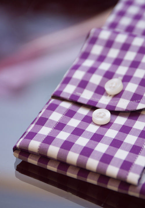 Frank Stella Purple Gingham Dress Shirt - Frank Stella Clothiers