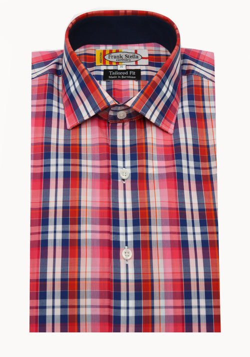 Frank Stella Pink and Navy Plaid Sport Shirt - Frank Stella Clothiers