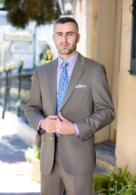 Tailored Fit Pure Cotton Screencheck Suit