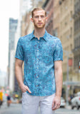 Teal Vines Short Sleeve Sport Shirt