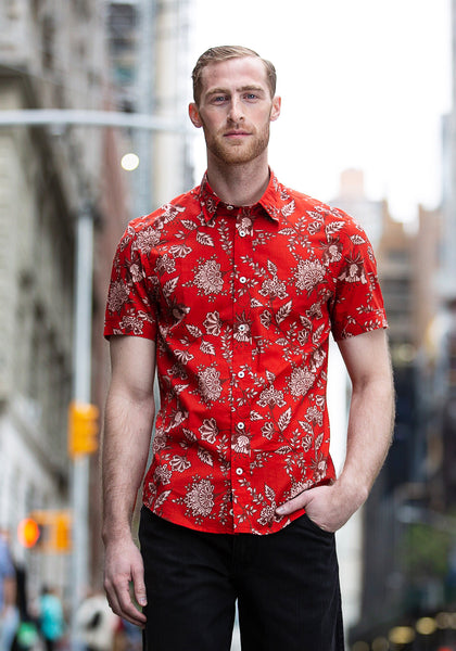 Red Floral Short Sleeve Sport Shirt