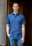 Navy Palms Short Sleeve Sport Shirt