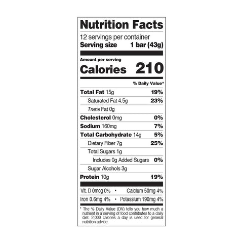Quest Snack Bar Nutrition Label Facts Peanut Chocolate Crunch