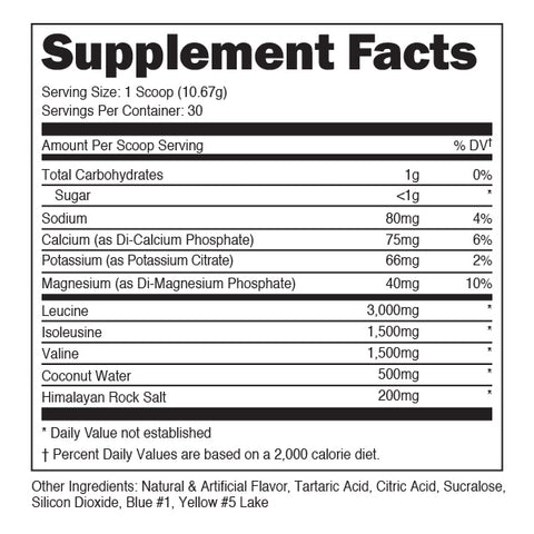 Bucked up Original Bcaa Supplement Nutrition Label Facts