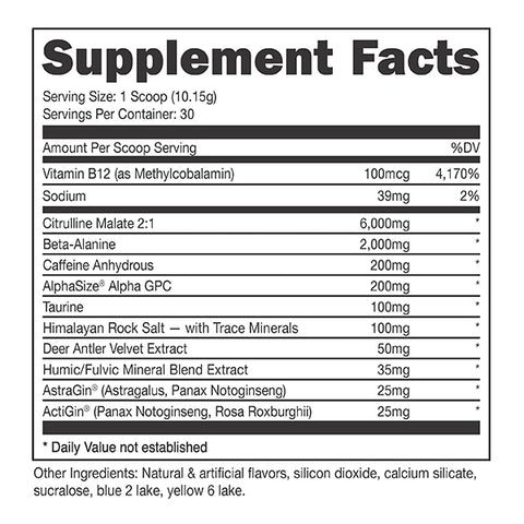 Bucked Up Preworkout Black Series Deer Candy Rainbow Nutrition Facts Label
