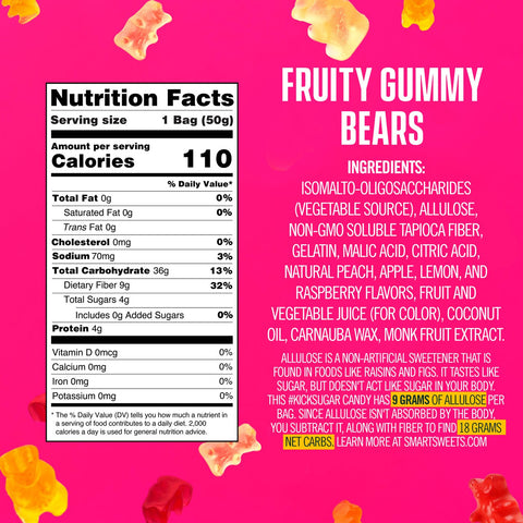 Smart sweets fruity gummy bears nutrition label supplement facts ingredients