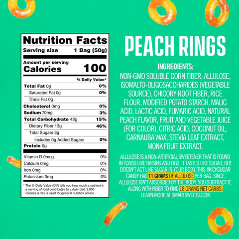 smart sweets peach rings nutrition label ingredients