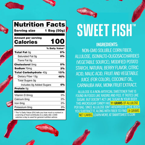 Smart sweets swedish fish nutrition label label facts ingredients