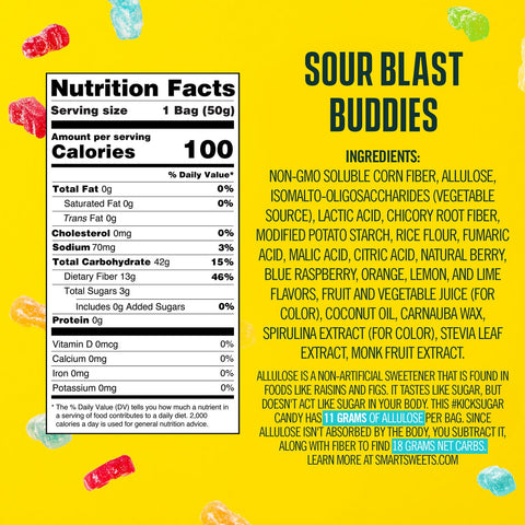 smart sweets sour blast buddies candy nutrition label supplement ingredients nutrition