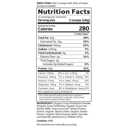 Garden Of Life Keto Meal SHake Replacement Nutrition Label Facts
