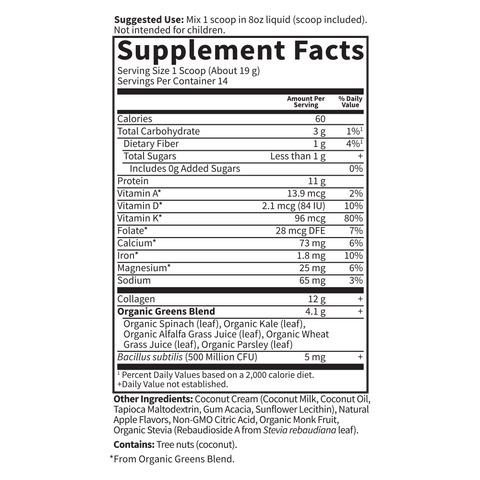 Garden Of Life Collagen Greens Beauty Supplement Facts Nutrition Label