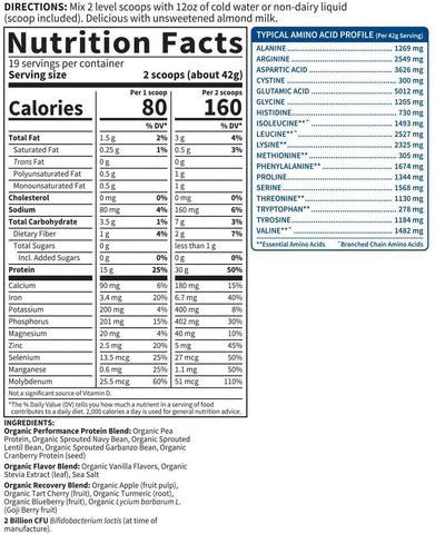 Garden Of Life Sport Organic Plant Based Protein Powder Nutrition Label Facts