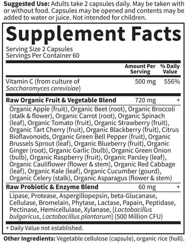 GOL Garden Of Life RAw Vitamin Code C Nutrition Label Facts