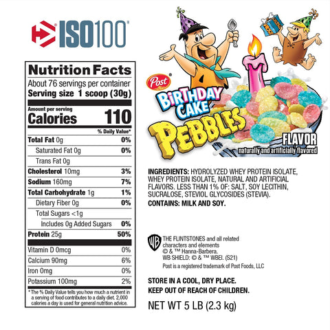 Dymatize Iso 100 Whey Protein Isolate New Limited Birthday Cake Fruity Pebbles Flinstones