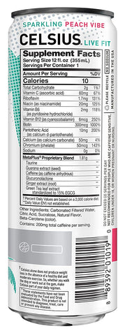 Celsius Peach Vibe Energy Drink Can Nutrition Label Facts