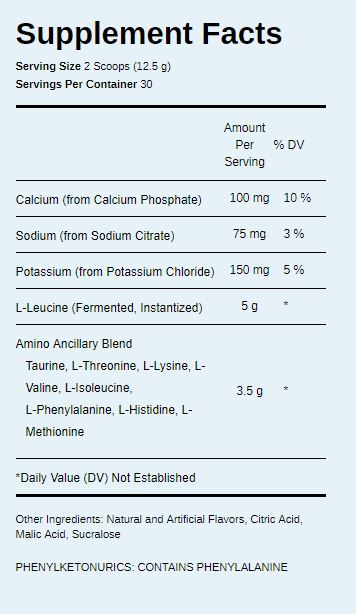 PEScience Amino IV nutrition label