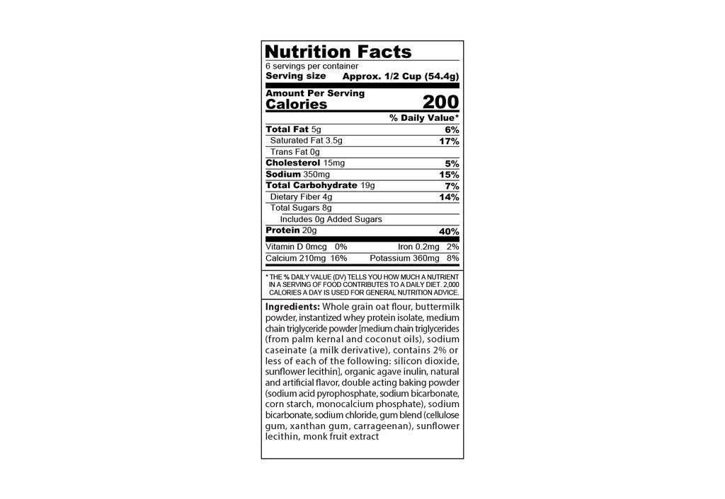 panic pancakes buttermilk nutrition facts label