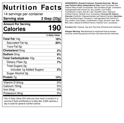 Fit Butters Birthday Cake Protein Nut Butter Spread Merica Labz Nutrition Label Facts