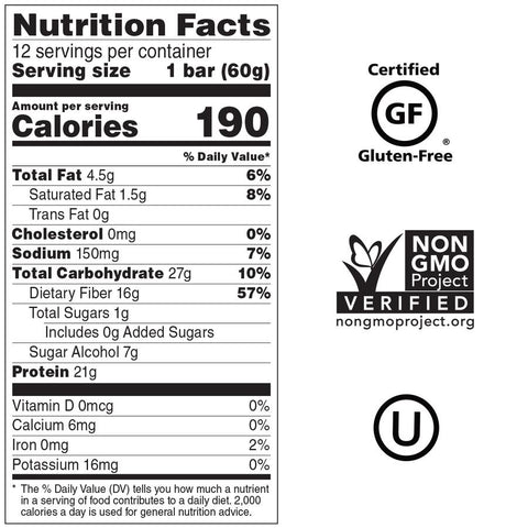 No Cow Plant Based Protein Bar Birthday Cake Nutrition Label Facts