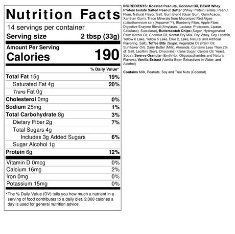 Fit Butters Butterscotch Toffee Crunch Peanut Butter Protein Beam Nutrition Label Ingredients Facts