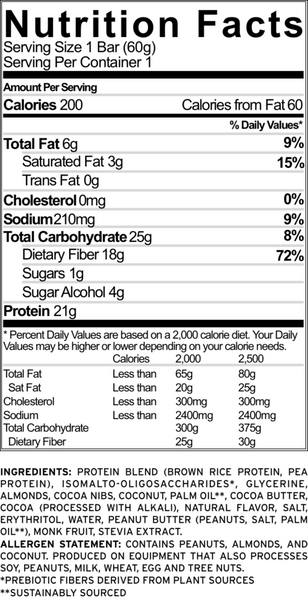 no cow bar chocolate coconut nutrition facts label info