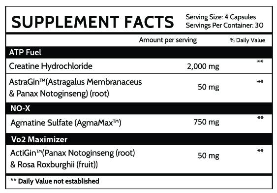 inspired nutra cr3 creatine hcl supplement facts label