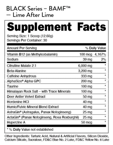 Bucked Up Bamf Black Series High Stim Nootropic Preworkout Supplement Nutrition Label Facts