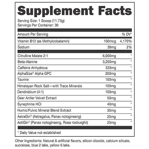 Bucked Up Woke AF Preworkout Black Series New Supplement Nutrition Label Facts