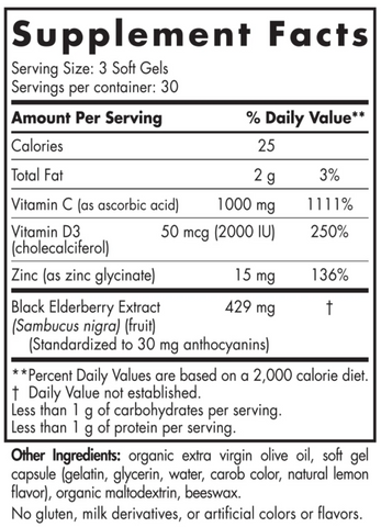Nordic Naturals Immune Daily Defense Supplement Nutrition Label Facts