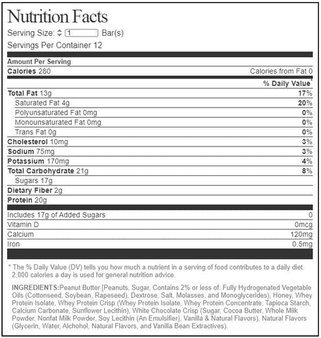 MTS Nutrition Outright Bar Protein Whole Food White Chocolate Crisp Chip Supplement Label facts