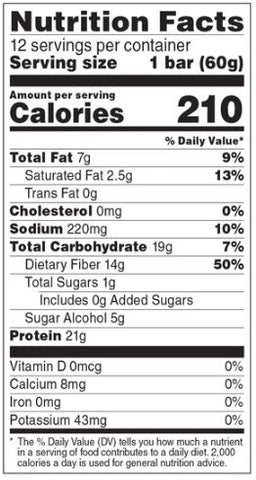 No Cow Chocolate Glazed Doughnut Protein Bar Non Dairy Plant Based Nutrition Label Facts