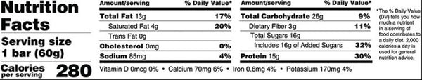 Outright Bar Protein New Cookie Dough PB Nutrition Label Facts