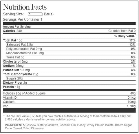 Outright Bar Protein Whole Food MTS Nutrtion Cinnamon Sugar Donut Cashew Butter Label