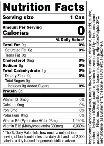Bucked Up Energy Drink RTD Can Low Stim Nutrition Supplement Label Facts