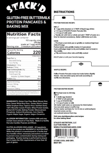 Stack'd stacked stackd protein pancake mix gluten free nutrition label facts