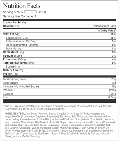 MTS Nutrition Outright Protein Whole Food Bar Mint Cookies & Cream Nutrition Label Facts