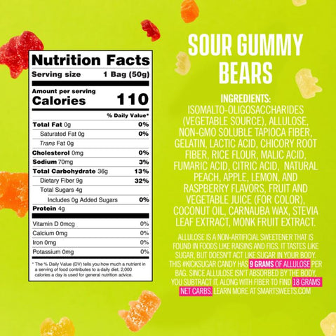 smart sweets sour gummy bears candy nutrtion ingredients label facts