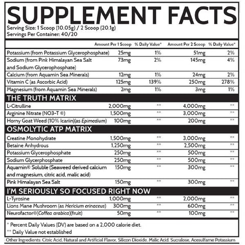 Inspired Nutra Nutraceuticals FSU non stim pump preworkout nutrion supplement facts label