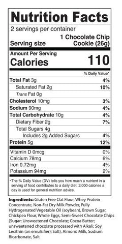 MPB Mea Pro Bake Snacks My Protein Bites Chocolate Chip Cookies New Nutrition Label Facts